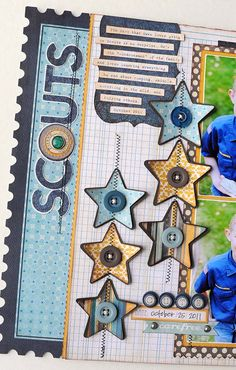 diggin' the star embellishments - cute idea for 4th of July page