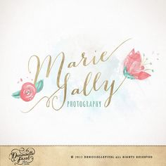 A hand drawn logo featuring a delicate calligraphy and hand painted flowers and leaves in a pretty watercolor wash. The layout and typography