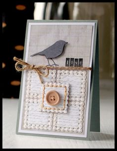 Cute Crow Card...with twine tie & button...nice squared design...Kazan Clark.