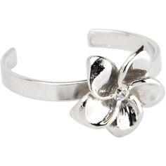 Sterling Silver 925 Cubic Zirconia FLOWER BLOOM Toe Ring