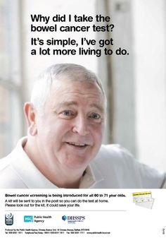 Bowel Cancer screening awareness poster from Public Health Agency, Belfast