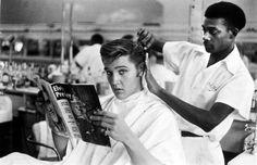 Elvis at Jim's Barber Shop in Memphis. 1956.