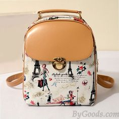 College Casual Floral Cute Bear Eiffel Tower Pattern School Travel Backpack only $27.99 in ByGoods.com!