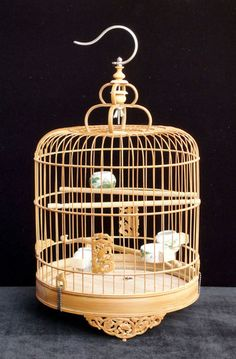 $199 Chinese Bamboo Round Carving Motif Birdcage Display