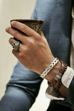 The silver bracelet is nice #men'sjewelry
