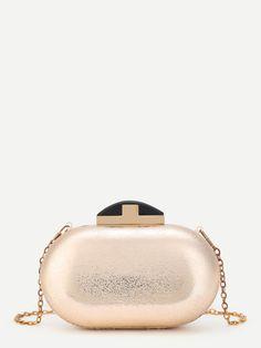 Bags by BORNTOWEAR. Metallic Pu Chain Crossbody Bag