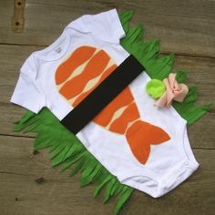 HA! sushi baby halloween costume DIY  I'd personally make a ginger/wasabi headband for a little girl, with green ruffles on the bum. :P