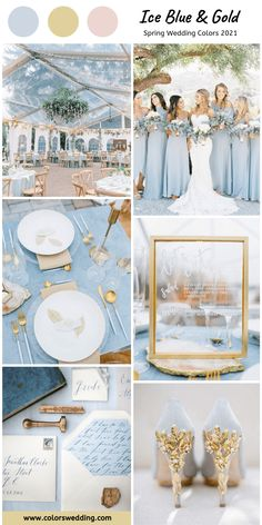 Top 8 Spring Wedding Color Combos for 2021 Ice Blue + Gold Wedding: bride in white lace gown, blue wedding heels inlaid with gold, wedding tablescape, table settings and invitation set. Blue Gold Wedding, Gold Wedding Colors, Gold Wedding Theme, Wedding Color Schemes, Wedding Heels, Wedding Bride, Spring Wedding Colors Blue, Wedding Themes For Spring, Fall Wedding