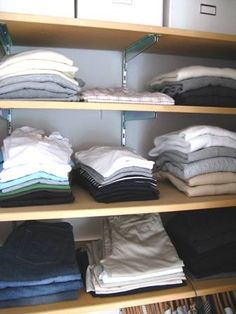 Instead of a dresser, organize clothes on closet shelves.