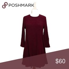 ❄️ Burgundy Long Sleeve A Line Fit and Flare Dress A gorgeous winter cranberry color in a soft, cozy, ribbed knit dress. Adorable with leggings and boots in colder weather.   ❌ Sorry, no trades. fairlygirly Dresses Long Sleeve