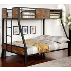 Furniture of America Brighton Wood Panel Twin Over Full Bunk Bed - Black