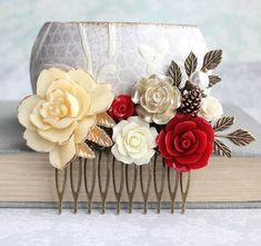 Bridal Hair Comb Dark Red Wedding Hair Accessories Floral Collage Comb Ivory…