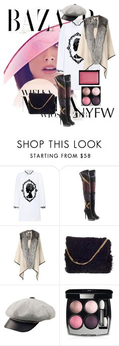 """""""NYFW #7"""" by russetandolive ❤ liked on Polyvore featuring Bela, Dolce&Gabbana, Burberry, Mr & Mrs Italy, CÉLINE, Goorin, Chanel, MAC Cosmetics, women's clothing and women"""