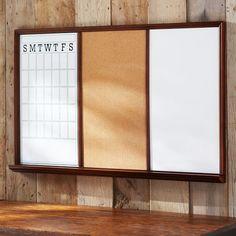 Study Wall Boards - Dark Espresso Frame Triple | PBteen