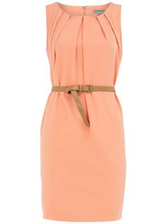 Dorothy Perkins. Peach Sleeveless Belted Dress. > Don't have much clothing this color, but if I get tan enough this summer.. it may actually compliment my skin tone. [ Stolen from Ms. Schylper :) ]