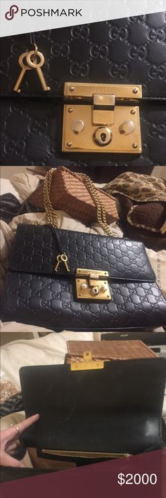 Gucci' Handbag Blue with gold chain and cream insides. Insides are a little dirty. Gucci Bags Crossbody Bags