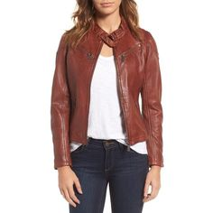 Women's Mauritius Leather Lambskin Leather Moto Jacket (£185) ❤ liked on Polyvore featuring outerwear, jackets, dark cognac, rider jacket, lamb leather jacket, moto jacket, red jacket and red biker jacket