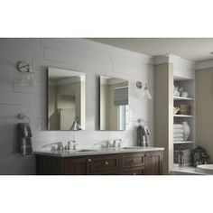 Delta 24 in. Rectangular Frameless Standard Glass Mirror with Easy-Cleat Float Mount - The Home Depot Vanity Mirror, Glass Mirror, Contemporary Bathroom Vanity, Bathroom Vanity Mirror, Distressed Bathroom Vanity, Double Vanity Bathroom, Contemporary Bathroom, Traditional Bathroom, Glass Bathroom