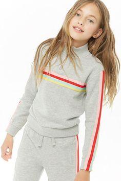 Girls Striped Trim Pullover (Kids) - October 05 2019 at Girls Sports Clothes, Preteen Girls Fashion, Kids Outfits Girls, Cute Girl Outfits, Kids Fashion, Fashion Outfits, Tween Girls, Kids Girls, Spring Fashion