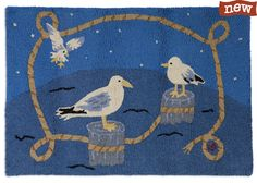 Nautical Gulls 2'x3' Hooked Rug - Chandler 4 Corners