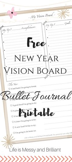 FREE New Year Vision Board Bullet Journal Printable