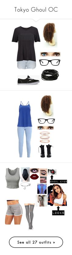 """""""Tokyo Ghoul OC"""" by angel12345 ❤ liked on Polyvore featuring Topshop, rag & bone, Vans, Ray-Ban, Hot Topic, DailyLook, Theyskens' Theory, Accessorize, LE3NO and Lime Crime"""