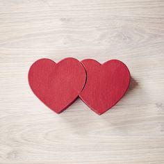 Dubbel hartvormig doosje - antiek rood