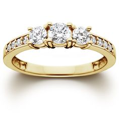 Bliss 14k Gold 1 ct TDW Diamond Three Stone Ring