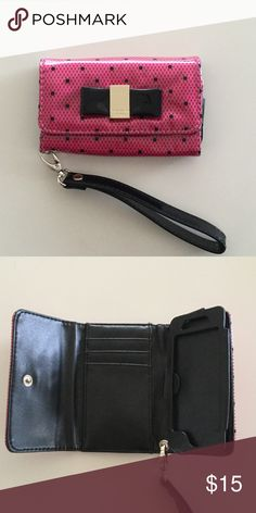 Victorias Secret Wallet / Phone Case iPhone 5 & SE Never used Victoria Secret pink patent leather wallet and phone holder. Black removable Wristlet Compatible for iPhone 5 and the new iPhone SE. Victoria's Secret Accessories Phone Cases