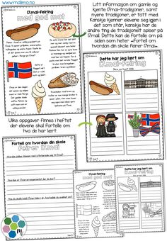 17mai-minibok4 17. Mai, Constitution Day, Party Entertainment, Elementary Education, Norway, Free Printables, Coloring Pages, Homeschool, Arts And Crafts