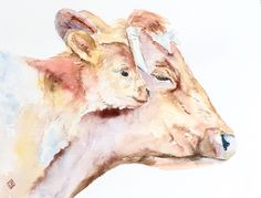 Mother and baby cow - 8 1/2 x 11 original watercolor painting - nursery art, animal, impressionist, colorful by FernOriginalArt on Etsy https://www.etsy.com/listing/492758070/mother-and-baby-cow-8-12-x-11-original