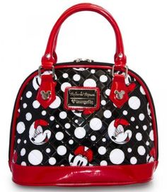 Loungefly Disney Minnie Mouse Polka Dot Quilted Dome Vintage Minnie Mouse is printed on the front and back of this adorable retro purse, amongst black and white Disney Tote Bags, Disney Handbags, Disney Purse, Cute Handbags, Purses And Handbags, Minnie Mouse Purse, Mickey Mouse, Polka Dot Quilts, Versace
