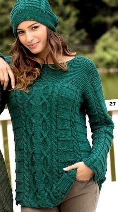 The focus of this sweater is a wide strip of spectacular Aran pattern, surrounded by simple braids a Knitwear Fashion, Sweater Fashion, Lace Knitting, Knit Crochet, Hand Knitted Sweaters, Knit Jacket, Sweater Weather, Cardigans For Women, Pattern Fashion
