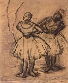 Learn more about Deux Danseuses 7 Edgar Degas - oil artwork, painted by one of the most celebrated masters in the history of art. Edgar Degas, Ballerine Degas, Degas Drawings, Degas Dancers, Famous Artists Paintings, Art Ancien, Black And White Sketches, Ballet, Artwork Images