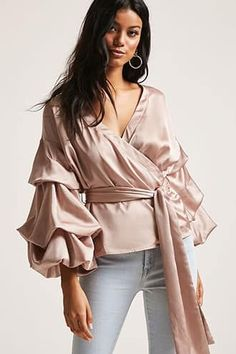 Forever 21 is the authority on fashion & the go-to retailer for the latest trends, styles & the hottest deals. Shop dresses, tops, tees, leggings & more! Wrap Wedding Dress, Satin Top, Shop Forever, Casual Wear, Latest Trends, Ruffle Blouse, How To Wear, Clothes, Shopping