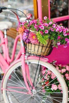 Pinke Blumen, pinkes Rad: Ein Frühling in Pink ist einfach gleich doppelt so schön.