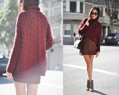 Sexy and chic outfit. Hi-low burgundy sweater and skirt + booties