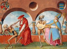 Death, the Patriarch and the Bishop from the Dance of Death cycle by Albrecht Kauw, 1649 (watatercolour)
