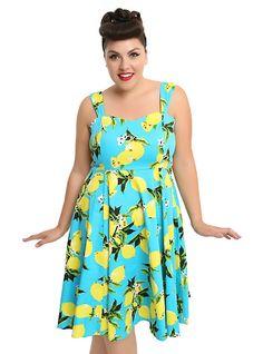 Lemon Turquoise Swing Dress Plus Size, BLUE