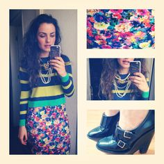 Flower pencil skirt and striped sweater accessorised with pearl necklaces and black boyish platforms.  Streetstyle.