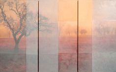 TOM BRYDELSKY - GREYSTRIPE (TRIPTYCH) - ENCAUSTIC OVER ARCHIVAL PRINT - 36 X 60 INCHES - 2011