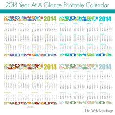 FREE printable 2014 Year At A Glance Calendar
