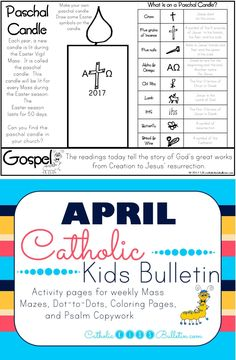 Check out these awesome Catholic Mass Bulletins for kids! These coloring and activity pages are perfect for PreK, Kindergarten, 1st, and 2nd grades. The kids can learn about the Gospel and a Saint of the week so they can focus during Catholic Mass! They are available in Spanish or English. Holy Saturday Easter Vigil Tomb is Empty