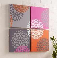 Get your home ready for spring with this Blooming Wall Art.  A large artistic piece made up four canvases and a Stencil1 stencil, this wall decoration is stunning and colorful.
