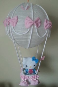 Hot air balloon lamp/ light shade with hello kitty teddy stunning in nursery.