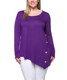Look what I found on #zulily! Purple Button Sidetail Tunic - Plus #zulilyfinds