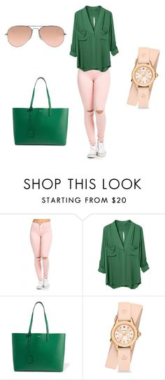 """""""Untitled #54"""" by didi-944 ❤ liked on Polyvore featuring Yves Saint Laurent, Michele and Ray-Ban"""