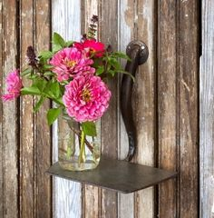 """This clever Rustic Garden Hoe Shelf is full of charm! Use it to display flowers in a sunroom or to add a rustic element in any room! - 9.5""""x 6.5""""x 9.5"""" - Metal"""