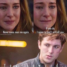 ~Divergent~ ~Insurgent~ ~Allegiant~ then he dies. Divergent Memes, Divergent Hunger Games, Divergent Fandom, Divergent Trilogy, Divergent Insurgent Allegiant, Insurgent Quotes, Divergent Movie Scenes, Veronica Roth, Shailene Woodley