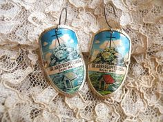 religious assemblage earrings lilyofthevally by lilyofthevally